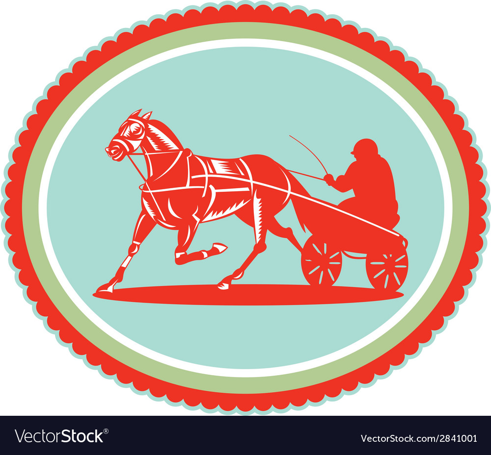 Horse and jockey harness racing rosette retro vector | Price: 1 Credit (USD $1)