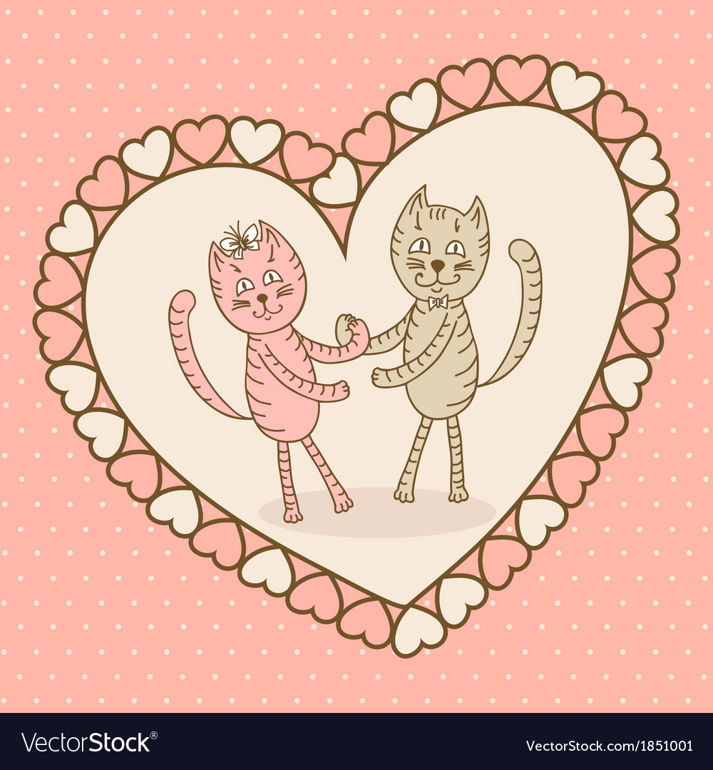 Love card with cat vector | Price: 1 Credit (USD $1)