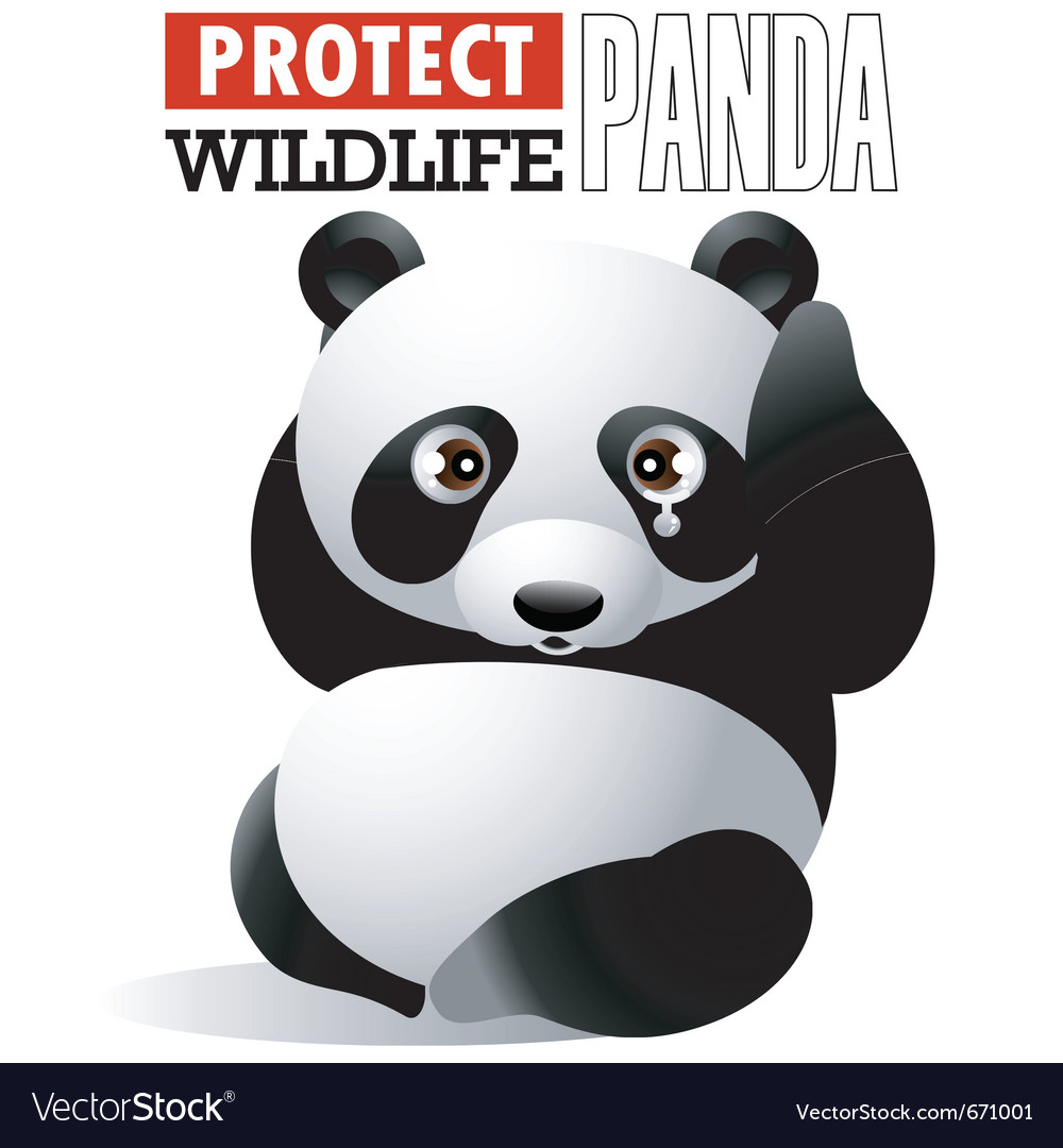 Protect wildlife - panda vector | Price: 1 Credit (USD $1)