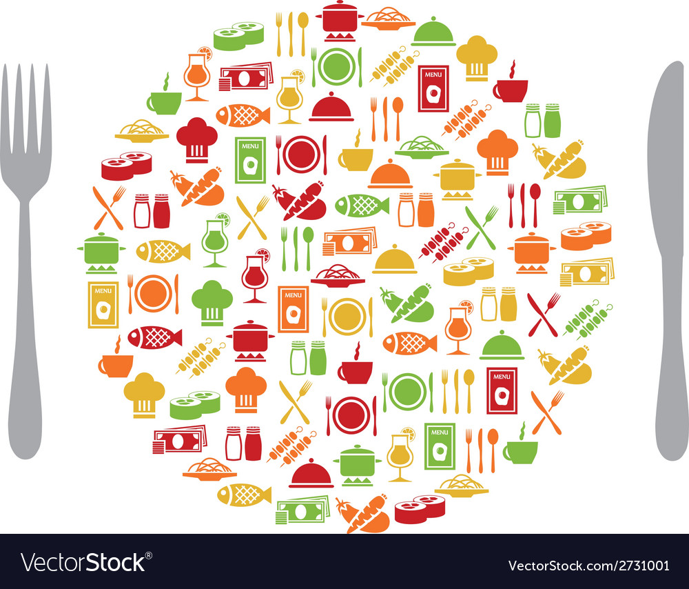 Restaurant icons in circle with cutlery vector | Price: 1 Credit (USD $1)
