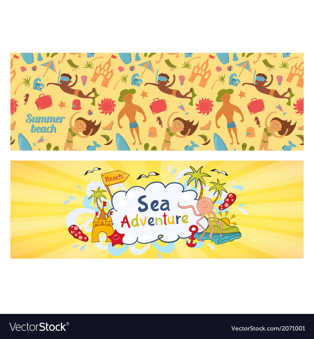Summer holidays banners set templates for vector | Price: 1 Credit (USD $1)