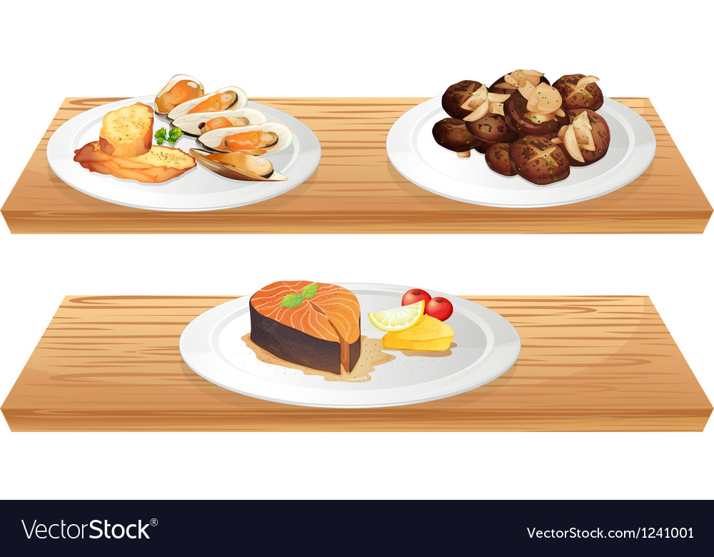 Two wooden shelves with foods vector | Price: 1 Credit (USD $1)