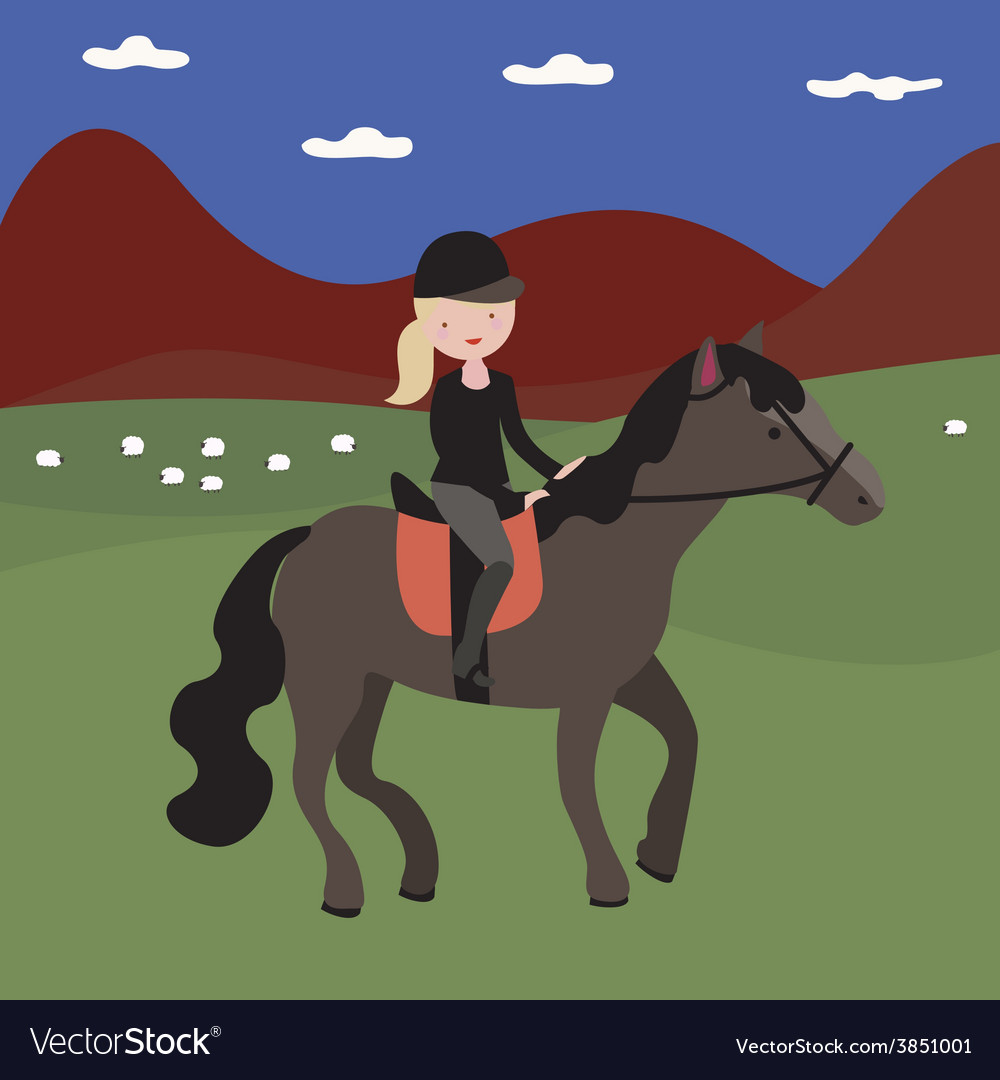 Young girl rider vector | Price: 1 Credit (USD $1)