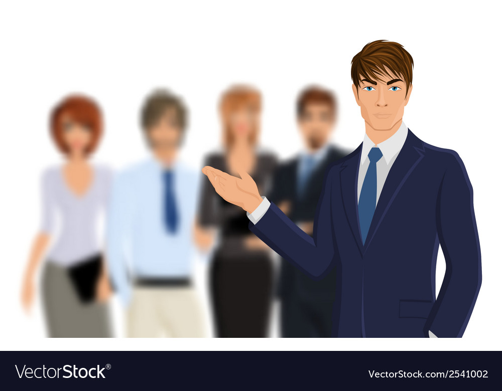 Businessman with team vector | Price: 1 Credit (USD $1)