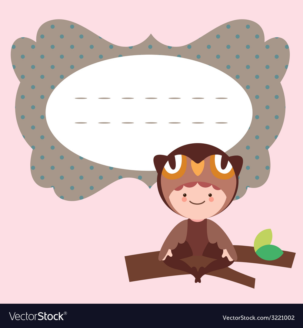 Card with cute little owl baby vector | Price: 1 Credit (USD $1)