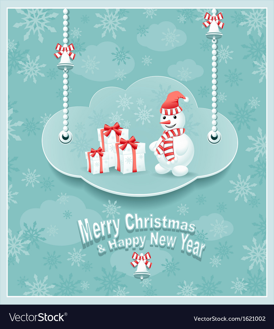 Cloud with snowman gift bells 380 vector | Price: 1 Credit (USD $1)