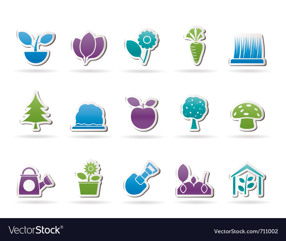 Different plants and gardening icons vector | Price: 1 Credit (USD $1)