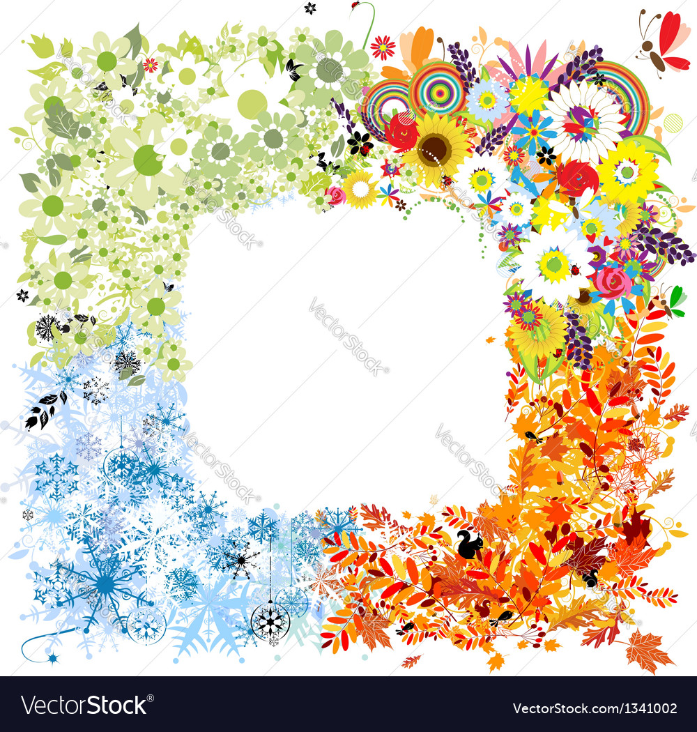 Four seasons frame - spring summer autumn winter vector | Price: 1 Credit (USD $1)