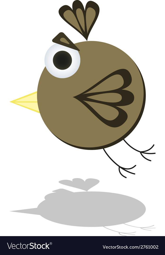 Funny flying little cartoon bird vector | Price: 1 Credit (USD $1)