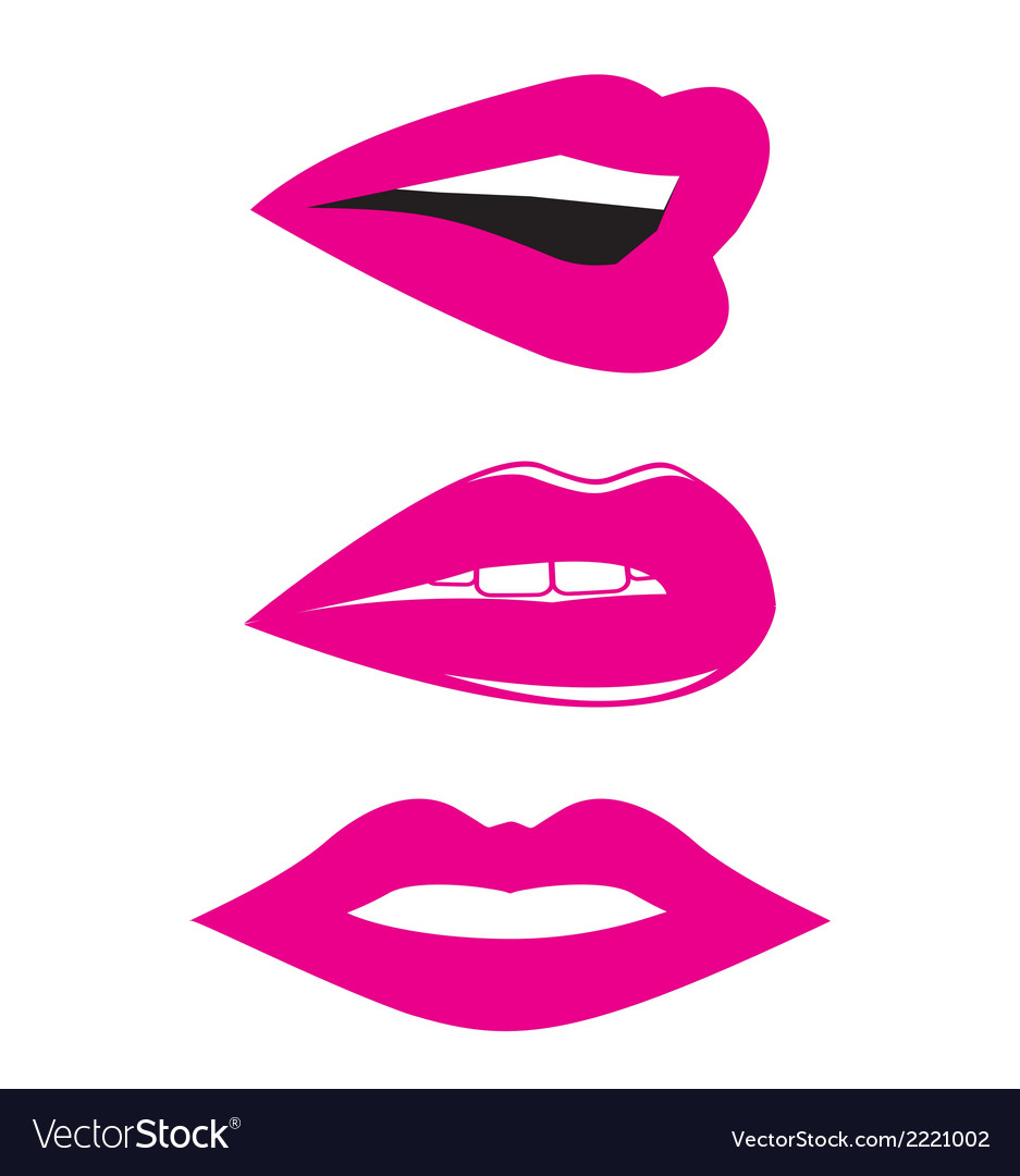 Lips and kiss icon logo set vector | Price: 1 Credit (USD $1)