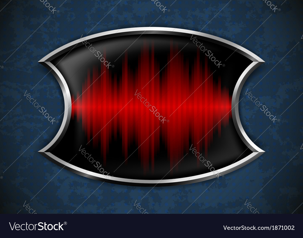 Metal frame with sound wave on rusty background vector | Price: 1 Credit (USD $1)