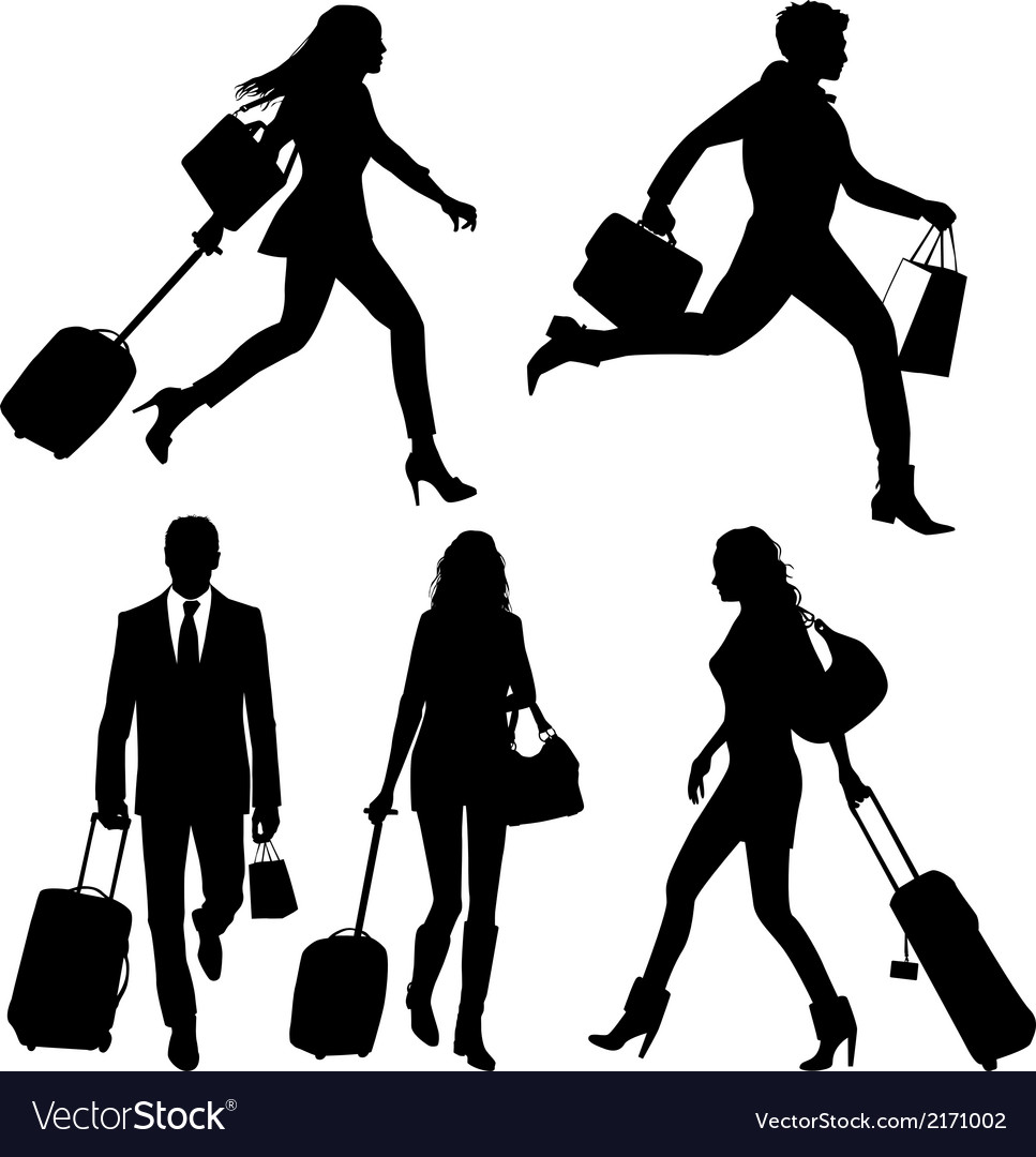 People silhouettes in a hurry at the airport vector | Price: 1 Credit (USD $1)