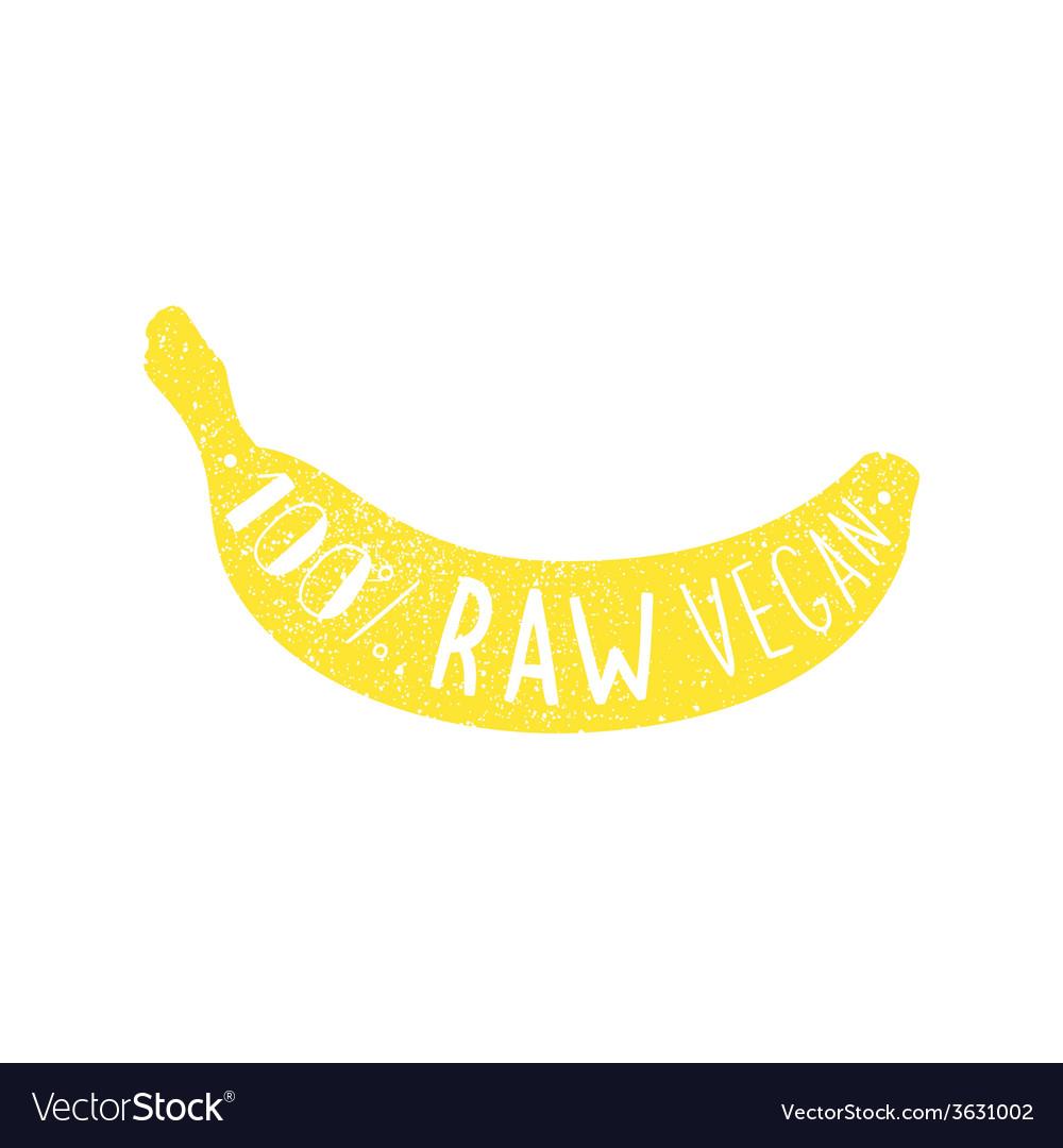 Raw vegan banana label vector | Price: 1 Credit (USD $1)