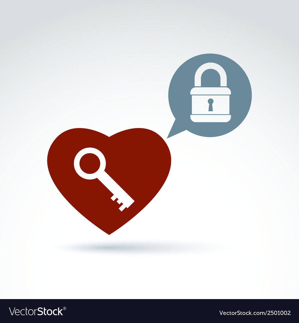 Red heart with a key isolated on white background vector | Price: 1 Credit (USD $1)