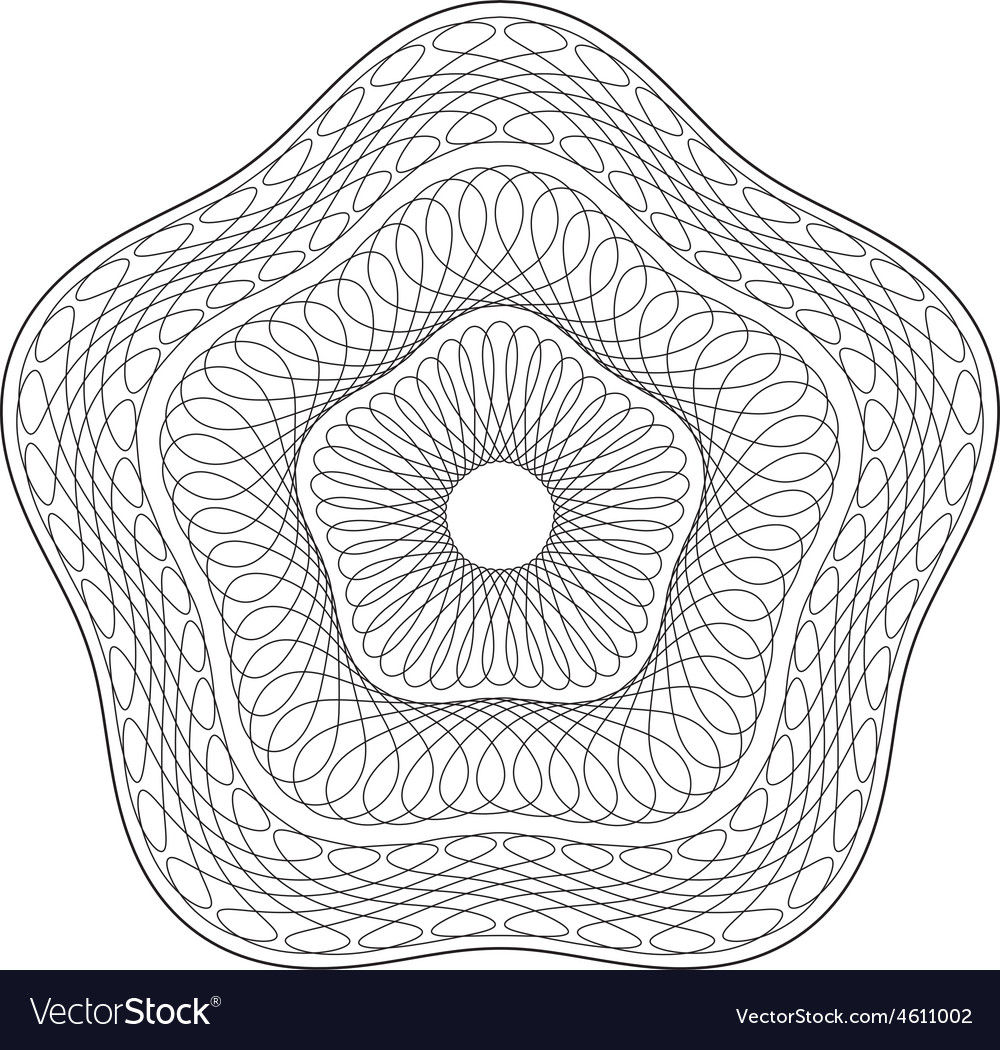 Rounded pentagon shaped guilloche pattern vector | Price: 1 Credit (USD $1)
