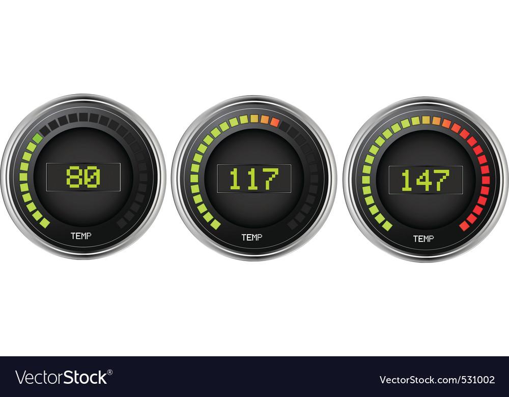 Set of digital temperature gauges showing differen vector | Price: 1 Credit (USD $1)