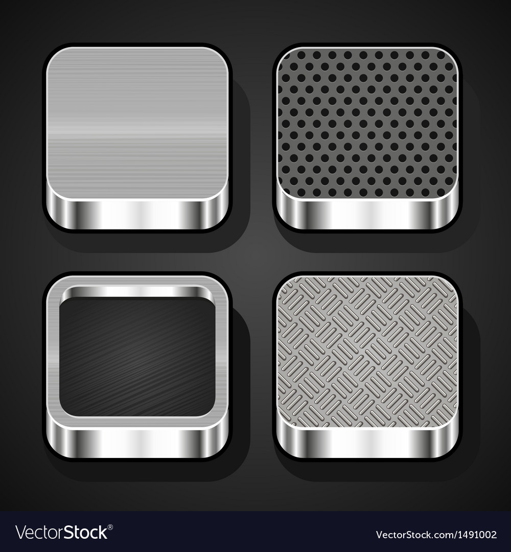 Set of metal ios icons vector | Price: 1 Credit (USD $1)