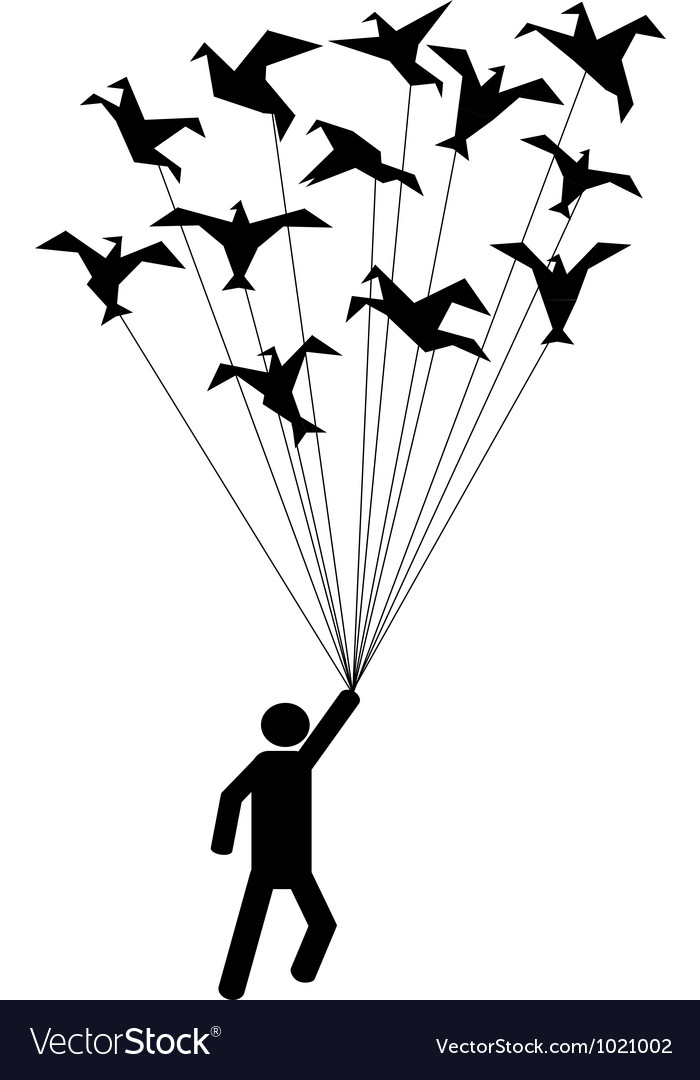 Symbol people carried by flying paper birds vector | Price: 1 Credit (USD $1)