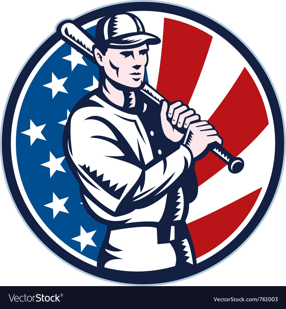 American baseball player retro vector | Price: 1 Credit (USD $1)