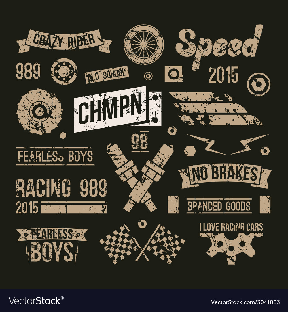 Car races club badges in retro style vector | Price: 1 Credit (USD $1)