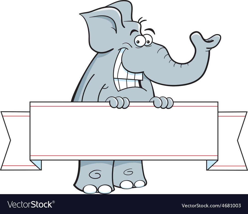 Cartoon elephant holding a banner sign vector | Price: 1 Credit (USD $1)