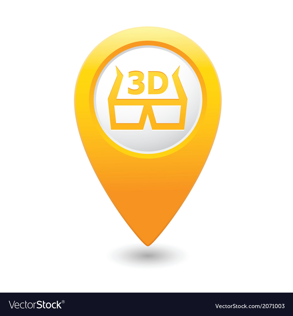 Cinema glasses 3d icon yellow map pointer vector | Price: 1 Credit (USD $1)