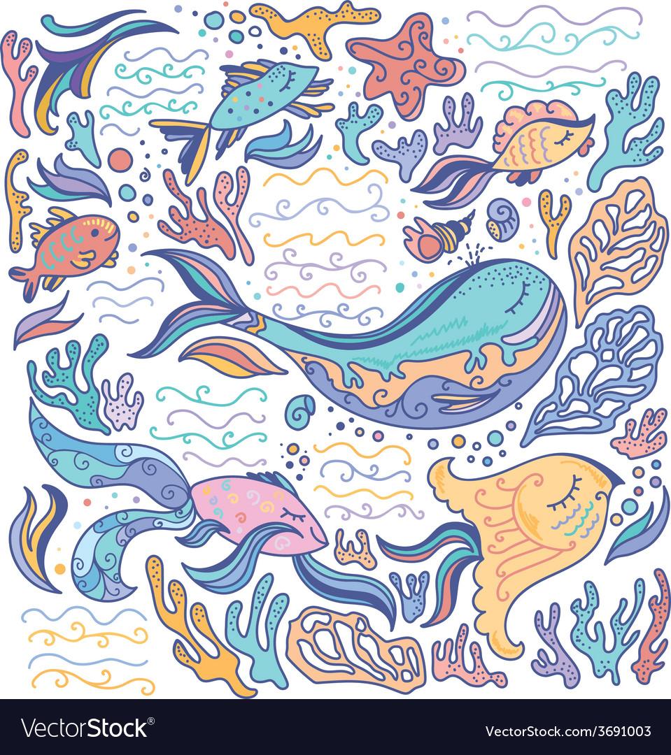 Colorful sea vector | Price: 1 Credit (USD $1)