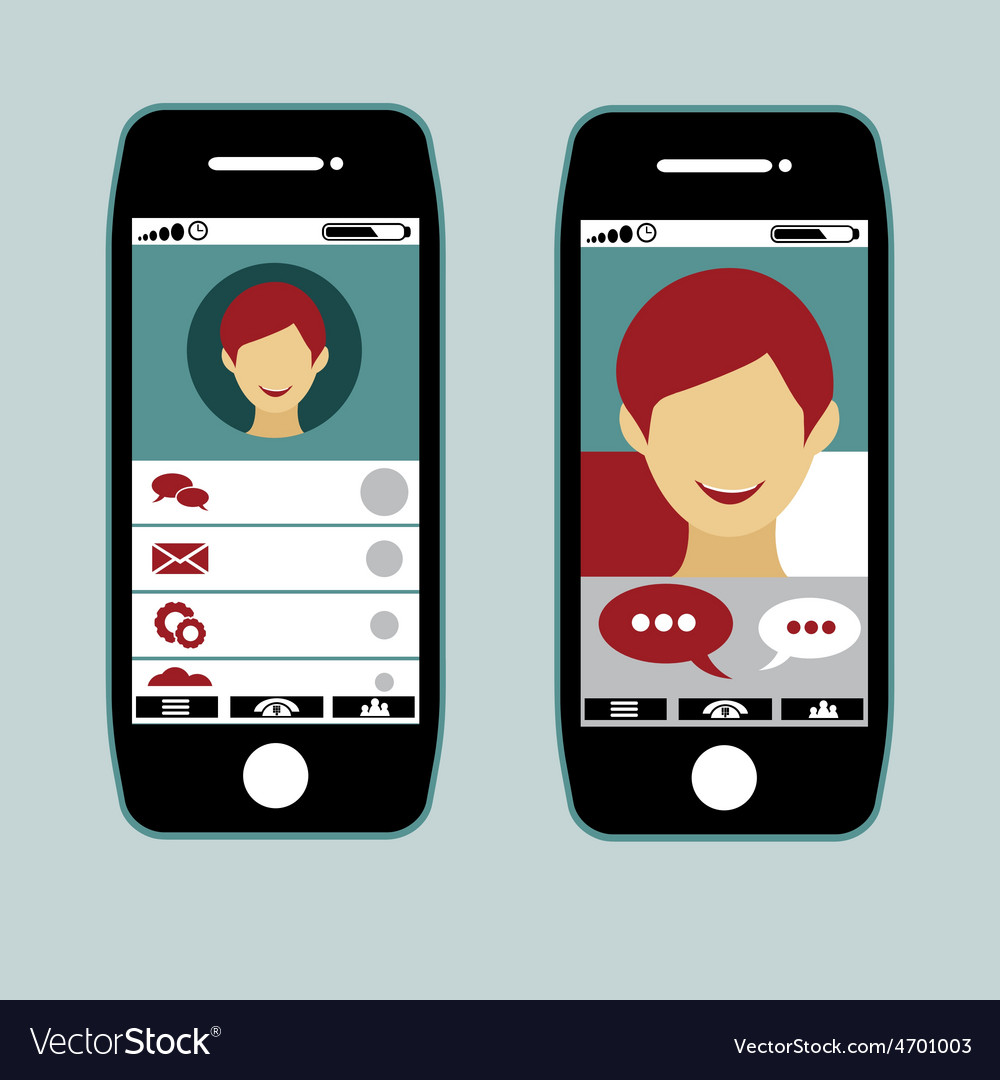 Flat design of smart phone application with young vector | Price: 1 Credit (USD $1)