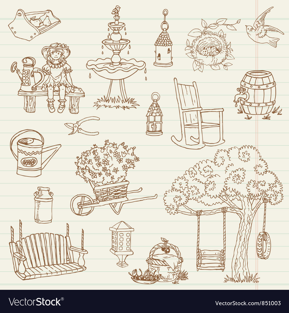 Gardening hand drawn doodles vector | Price: 1 Credit (USD $1)