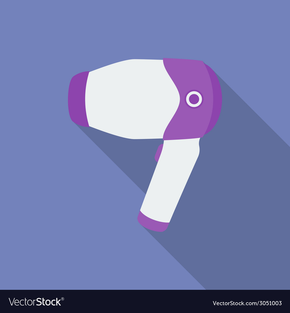 Hair dryer icon modern flat style with a long vector | Price: 1 Credit (USD $1)