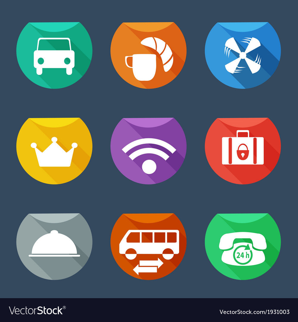 Hotel services icons set flat iu vector | Price: 1 Credit (USD $1)