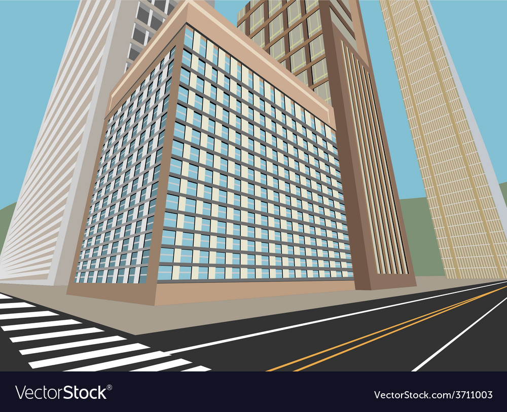 Road and city scene vector | Price: 1 Credit (USD $1)