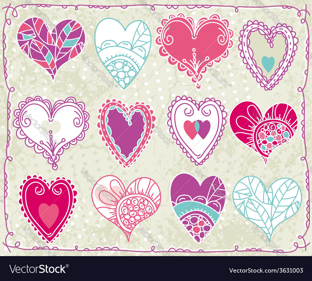 Twelve hand drawing valentines heart vector | Price: 1 Credit (USD $1)