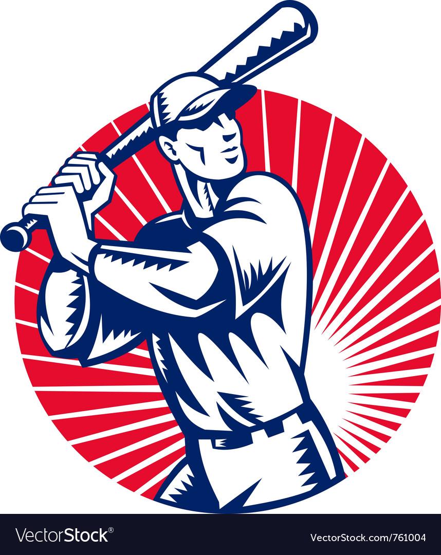 American baseball player retro vector | Price: 1 Credit (USD $1)