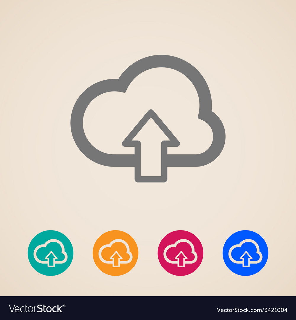 Cloud with upload arrow icons vector | Price: 1 Credit (USD $1)