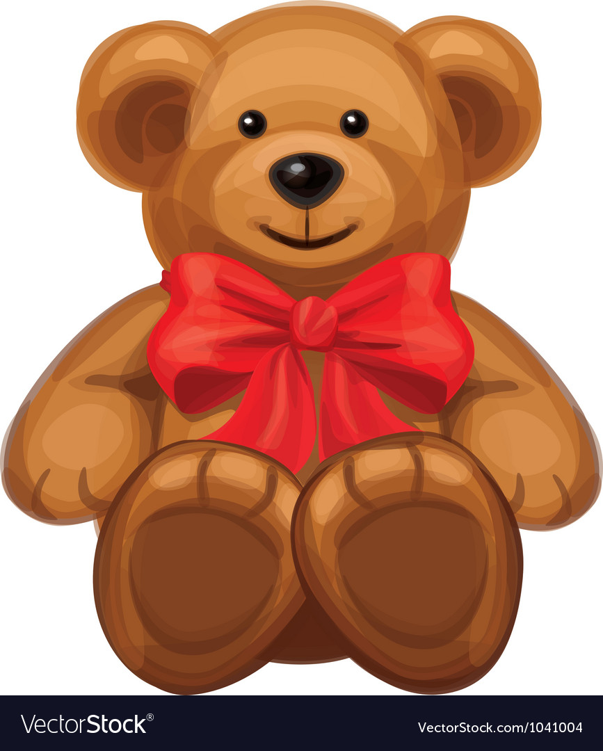 Cute brown bear with red bow vector | Price: 1 Credit (USD $1)