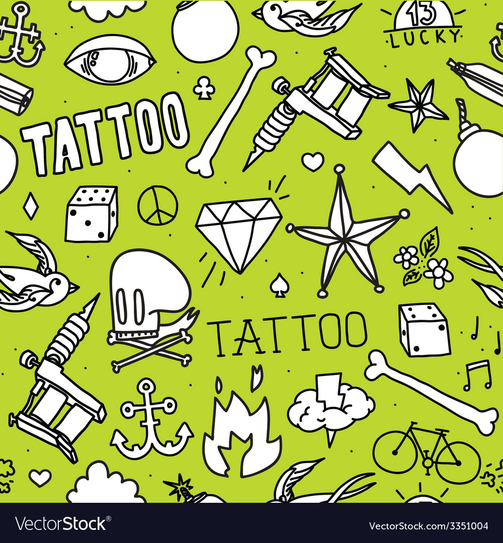 Doodle tattoo seamless background vector | Price: 1 Credit (USD $1)