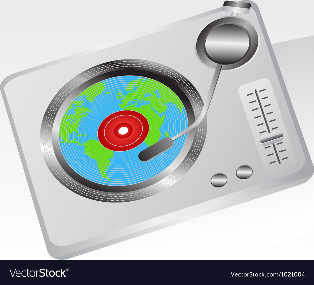 Earth record player vector | Price: 1 Credit (USD $1)