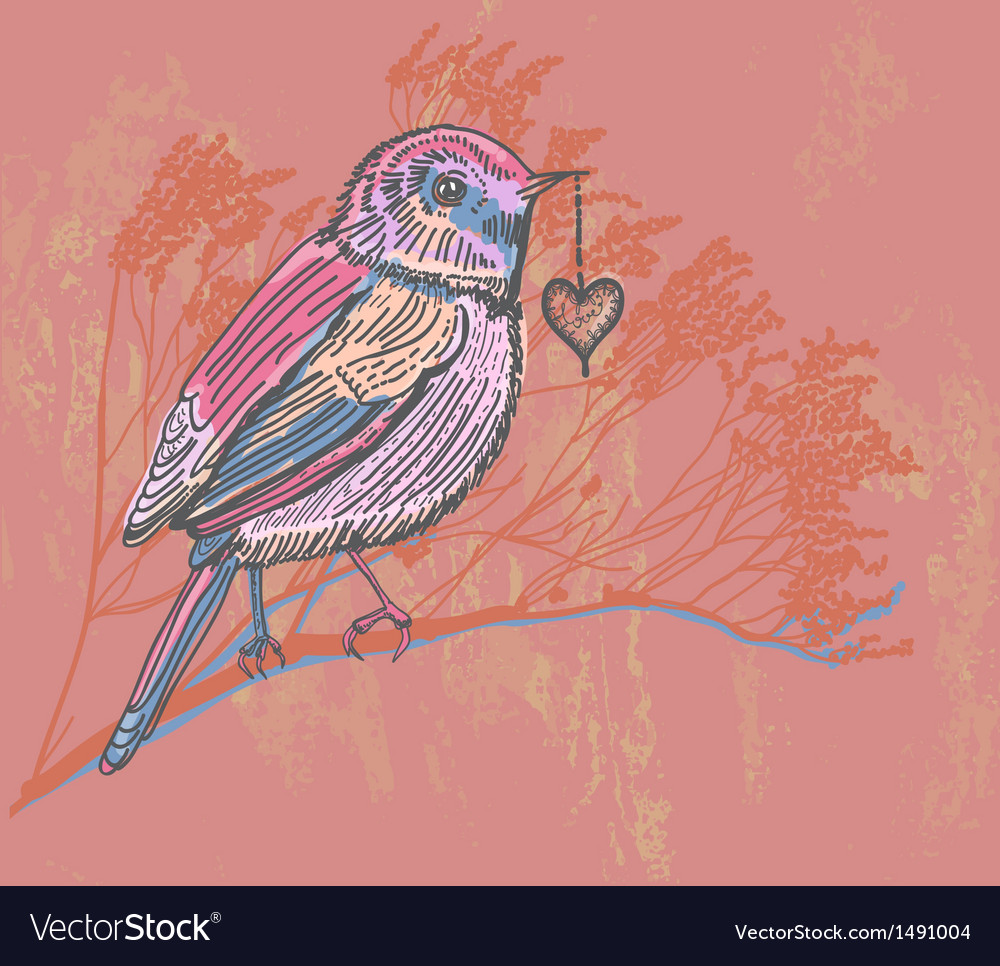 Floral card with bird vector | Price: 1 Credit (USD $1)