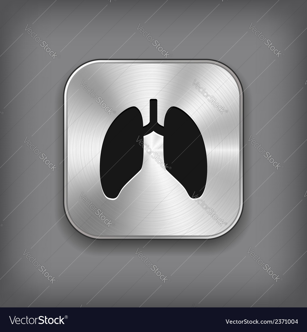 Lungs icon - metal app button vector | Price: 1 Credit (USD $1)