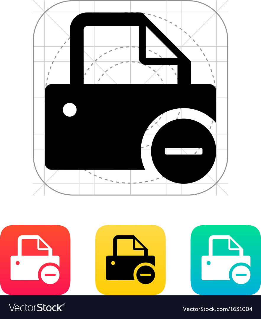 Printer with minus sign icon vector | Price: 1 Credit (USD $1)