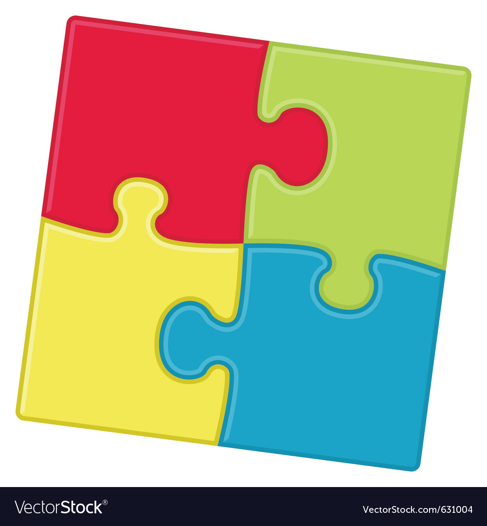 Puzzle pieces background with four different color vector | Price: 1 Credit (USD $1)