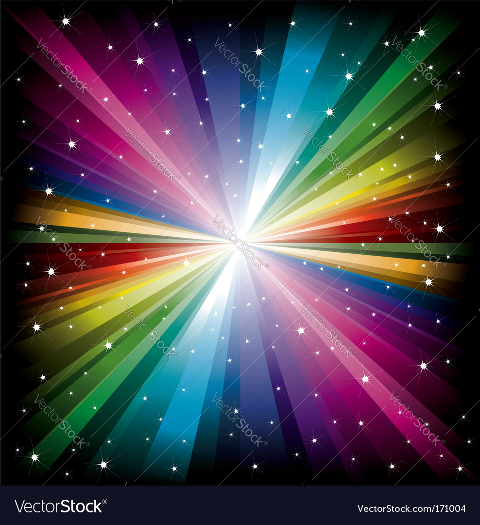 Rainbow light with white stars vector | Price: 1 Credit (USD $1)