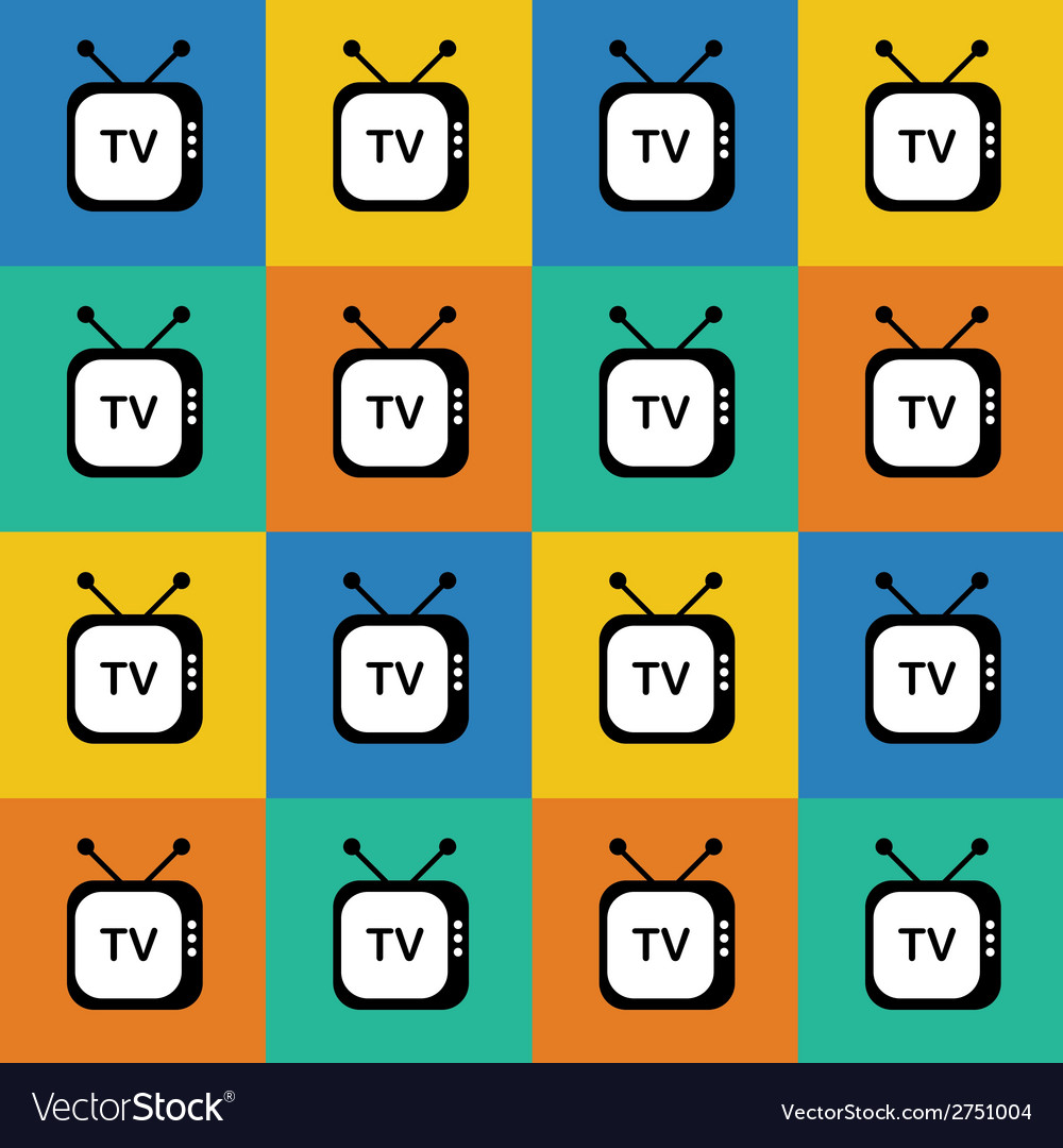 Retro tv web icon seamless pattern background vector | Price: 1 Credit (USD $1)