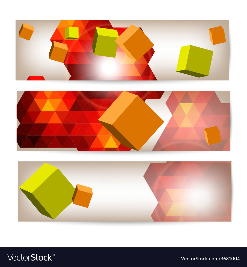 Set of banners with 3d geometrical elements vector | Price: 1 Credit (USD $1)