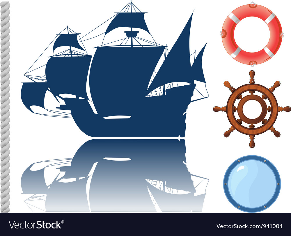 Set of marine objects vector | Price: 1 Credit (USD $1)