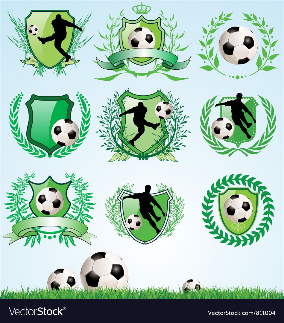 Soccer shield and laurel wreath set vector | Price: 3 Credit (USD $3)