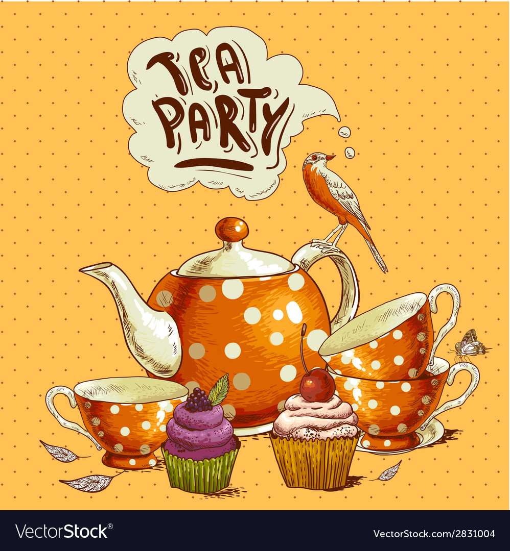 Tea party invitation card with a cupcake and pot vector | Price: 1 Credit (USD $1)