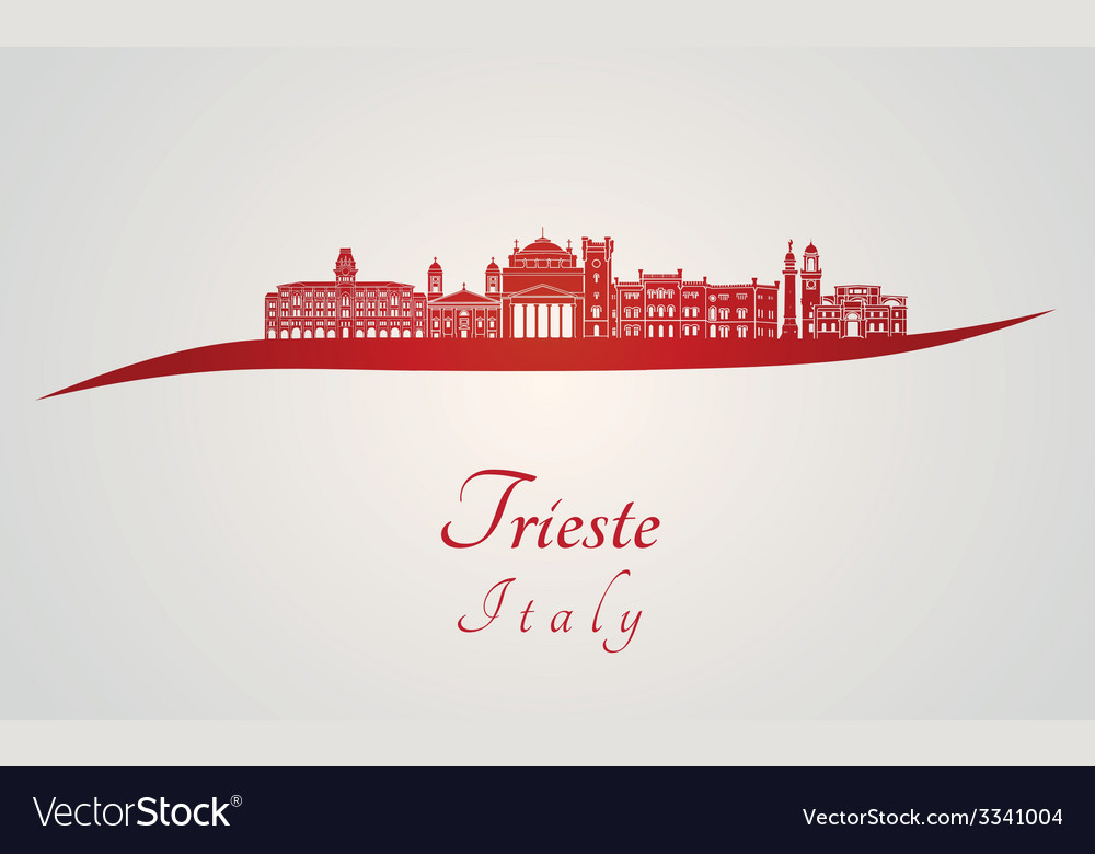 Trieste skyline in red vector | Price: 1 Credit (USD $1)