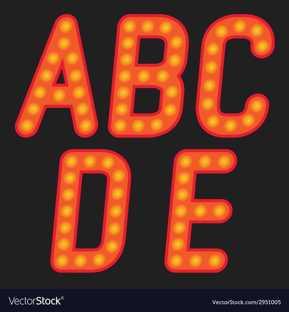 Alphabet of light on a black background vector | Price: 1 Credit (USD $1)